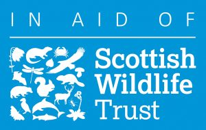Scottish Wildlife Trust logo white on blue